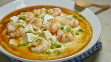 Soft Tofu Recipes: Steamed Egg with Shrimp and Tofu