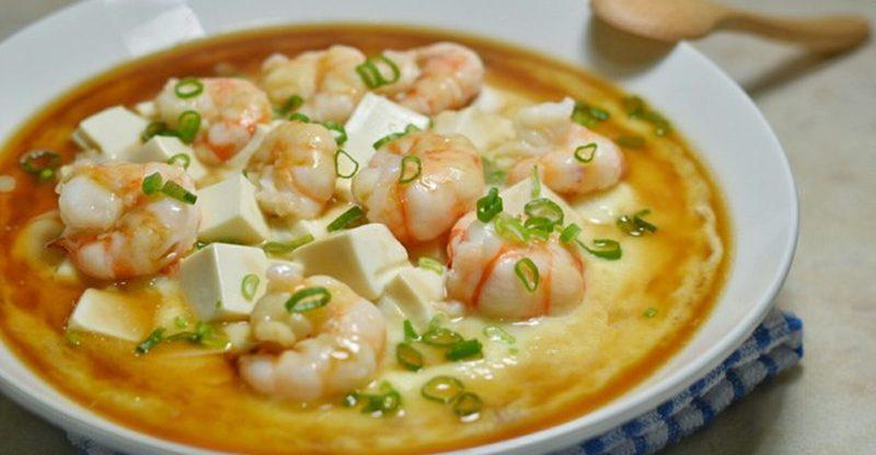 Soft Tofu Recipes: Steamed Egg with Shrimp and Tofu